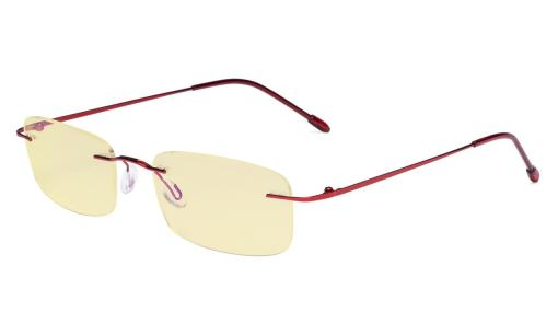 Computer Reading Glasses Blue light Blocking-Flexable Rimless Readers Men Women Yellow Tinted,Red TMWK8