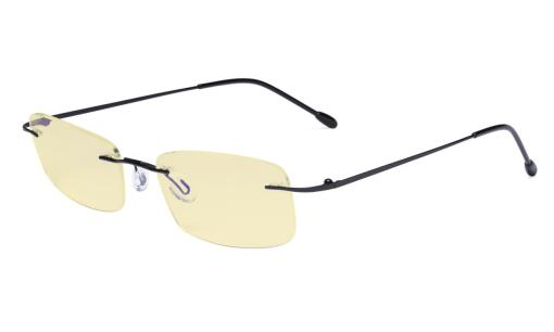 Computer Reading Glasses Blue light Blocking-Flexable Rimless Readers Men Women Yellow Tinted,Black TMWK8