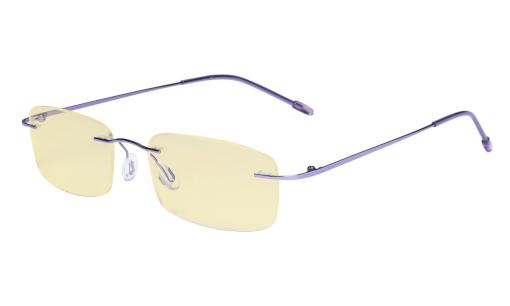 Computer Reading Glasses Blue light Blocking-Flexable Rimless Readers Men Women Yellow Tinted,Purple TMWK8