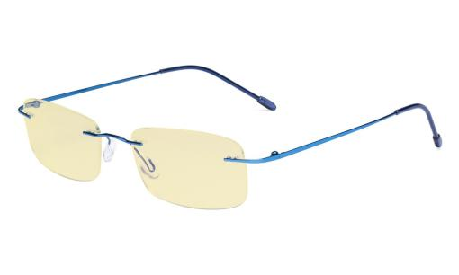 Computer Reading Glasses Blue light Blocking-Flexable Rimless Readers Men Women Yellow Tinted,Blue TMWK8