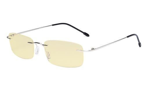 Computer Reading Glasses Blue light Blocking-Flexable Rimless Readers Men Women Yellow Tinted,Silver TMWK8