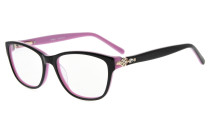 Eyeglasses Stylish Rx-able Acetate Frame with Quality Spring Hinge for Women Black-Pink FA0061