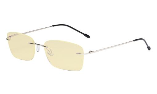 Computer Glasses Women - Blue Light Blocking Readers with Yellow Filter Lens - Lightweight Rimless Reading Eyeglasses,Silver TMWK9905B