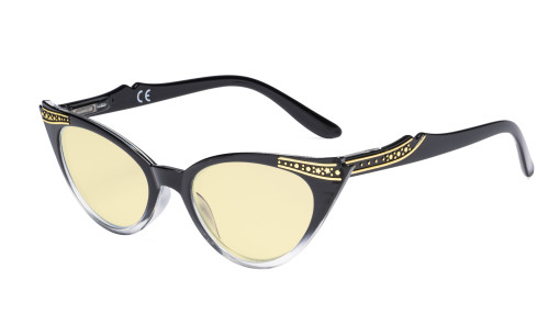 Ladies Blue Light Blocking Glasses with Yellow Filter Lens - Cateye Computer Eyeglasses Women - Black-Transparent TM914