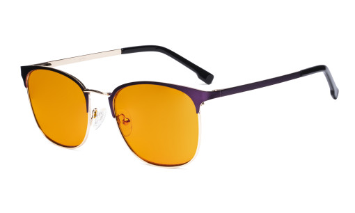 Ladies Blue Light Blocking Glasses with Orange Tinted Filter Lens - Computer Eyeglasses Women - UV420 Semi Rimless Design Eyewear - Purple LX19018-BB98