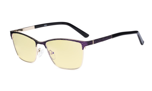 Ladies Blue Light Blocking Glasses with Yellow Filter Lens - Semi Rimless Computer Eyeglasses Women - UV420 Eyewear - Purple LX19012-BB60