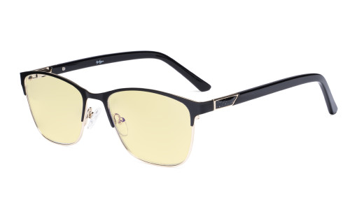 Blue Light Blocking Glasses Women with Yellow Filter Lens - Ladies Anti Blue Ray Eyeglasses - Black LX19015-BB60