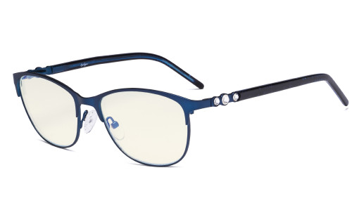 Cat-eye Ladies Blue Light Filter Glasses - UV Protection Computer Eyeglasses Women Acetate Temples with Crystals - Blue LX19020-BB40