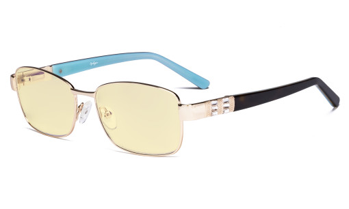 Ladies Blue Light Blocking Glasses with Yellow Filter Lens - Computer Eyeglasses Women Acetate Temples with Crystals - Reduce Eye Strain - Gold LX19007-BB60
