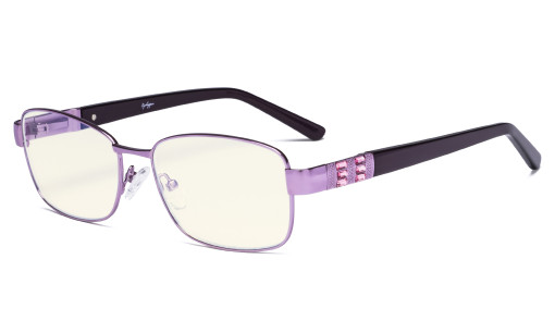 Ladies Blue Light Filter Glasses - UV Protection Computer Eyeglasses Women Acetate Temples with Crystals - Reduce Eye Strain - Purple LX19007-BB40