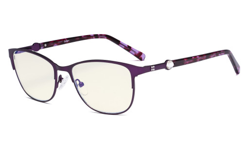 Ladies Blue Light Filter Glasses - Stylish Computer Eyeglasses Women - UV420 Protection Filter Digital Screen Eyewear - Purple LX19022-BB40
