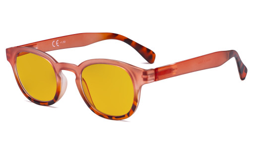 Ladies Blue Light Blocking Glasses with Amber Filter Lens - Anti Glare Computer Readers for Women Reading - Tortoise/Pink HP124D