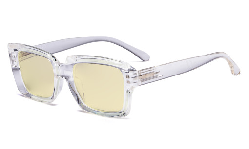 Blue Light Blocking Reading Glasses with Yellow Filter Lens - Oversized Square Computer Readers Women - Transparent TM9107