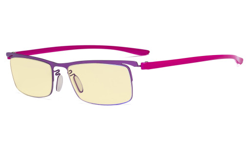 Blue Light Blocking Computer Glasses with Yellow Filter Lens - Semi-rim Reading Glasses Women Men - Purple Frame TMCG12625