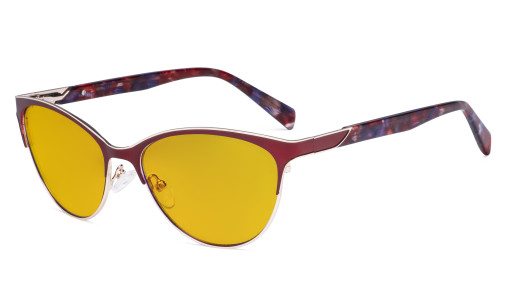 Ladies Cateye Blue Light Filter Glasses - Digital Eyegalsses Blocking Computer Screen UV Rays - Anti Glare Filter Reduce Eye Strain Amber Filter - Red LX19038-BB90