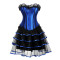 Lace Vertical Stripe Elegant Top Layered Dress Suit Corset