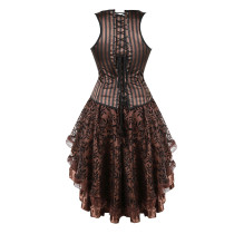Vertical Stripe Stain Waist Cincher Top Elegant Decorative Pattern Corset