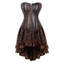 Classic Gothic Style Mysterious Pattern Top Eelgant Lace Dress