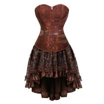 Gothic Style Metal Accessories Waist Cincher Top Noble Decorative Pattern Dress