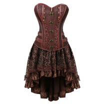 Punk Rock Faux Leather Metal Accessories Top Elegant Pattern Dress Gothic Style Suit Corset