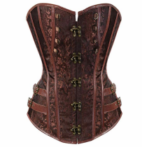 Metal Accessories Waist Cincher  Top Faux Leather Corset