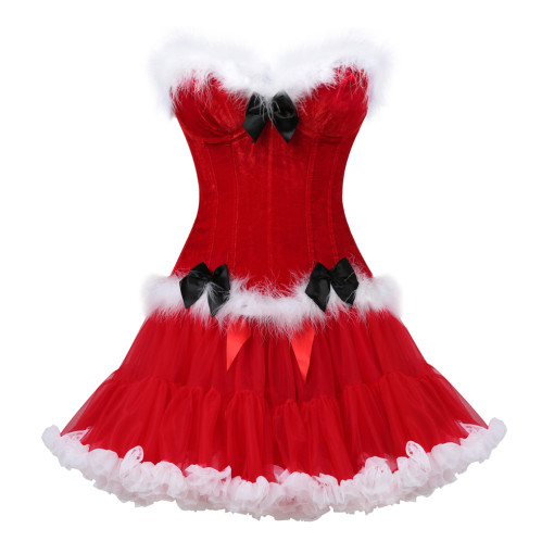 White Fur Black Knot Overbust Top Light Comfortable Mini Skirt Christmas Costume