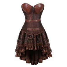 Faux Leather Top Medium-length Dress Decorative Pattern Gothic Style Corset Bustier