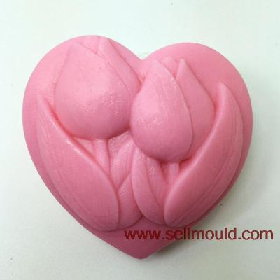 Heart Shape Flowers Craft Art Silicone Soap Mold Craft Molds DIY Handmade Soap Molds Tulips AT005
