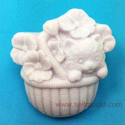 Flower Basket Cat Annimal Silicone Soap Mold Form For Soap Clay Mold Salt Carving Mould Wholesale AV003