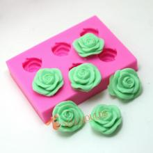 3d Six Rose Flowers Silicone Cake Mold Ice Cream Chocolate Molds Soap Mould Cupcake Bakeware Baking AE019