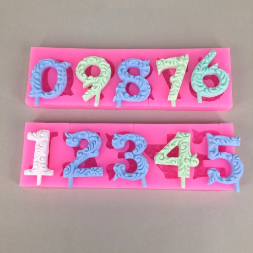 U1009 Beautiful Numbers 3D Silicone Mold Cake Decorating Fondant Mold 2PCS