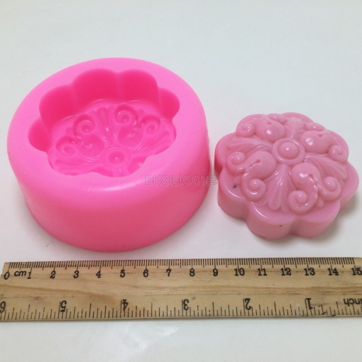 BN021 Round Flower 3D Silicone Soap Mold Silicone Molds For Soap Making