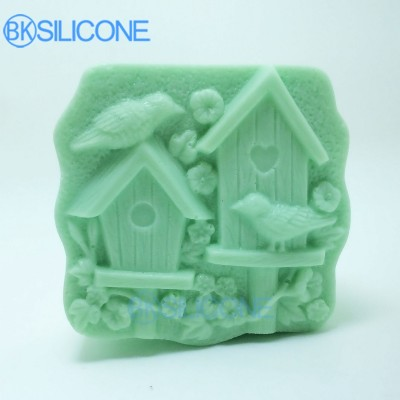 House Silicone Molds For Soap House Birds Flowers Mold Spring AP006