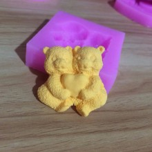 Bears Hug Love Shape Silicone Mold Cake Decorating Fondant Mould Tools S1011