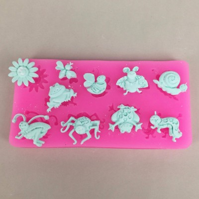 U1019 3D Insect Theme Silicone Fondant Mold Beetle Frog Bee Snail Spider Shape Chocolate Mold Cake Decoration Tools