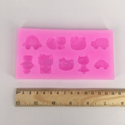 Baby toy hello kitty & car Silicone Fondant Cupcake Jelly Candy Chocolate Decoration Moulds T1004