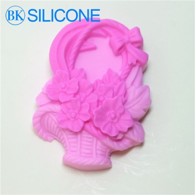 Direct Selling Flower Basket Silicone Soap Mold Form For Soap Clay Mold Bowknot Salt Carving Mould AG016