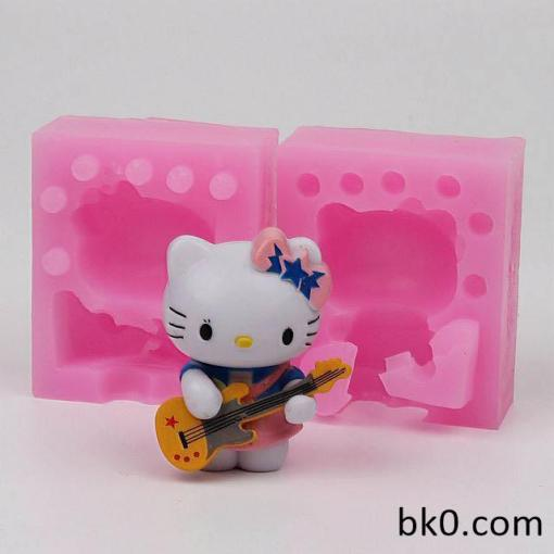 Play The Guitar 3D Silicone Mold Cake Soap Candle Molds WD024