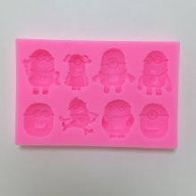 W1018 Despicable Me little yellow cartoon man fondant mould silicone mold chocolate tools
