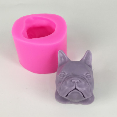 BK1056 Dog head silicone soap mold animal candle moldes fondant cake decoration mould