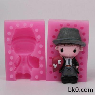 3D Handsome Boy Wearing Hat Silicone Molds Love Cake Decoration Tools WD009