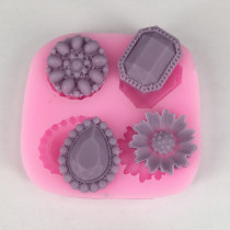 BK1025 Diamond flower food grade silicone mold simple home plaster mold