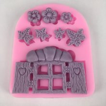 BK1004 Fairy Tale Cottage Door & Window 3D Flowers Silicone Mold DIY Cake Decorating Tools