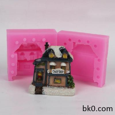 3D House Silicone Christmas Mold Candy Shop Mold Concrete Mould DIY WC021
