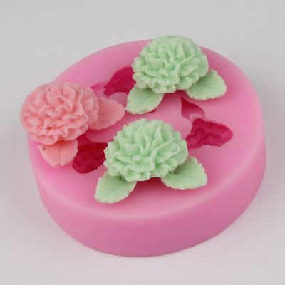 BG019 three flowers wholesale Fondant Cake Molds Soap Chocolate Mould For The Kitchen Baking