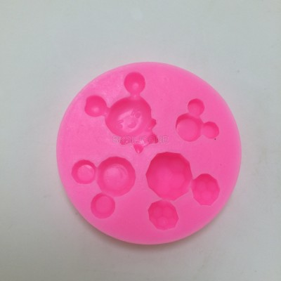 U1018 bear head fondant silicone mold suagr styling mould for wedding cake decoration moldes cakes