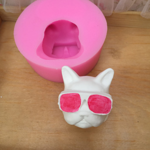 BK1124 new d cartoon dog head silicone mold animal candle moldes cake decoration baking sugarcraft pastry mould