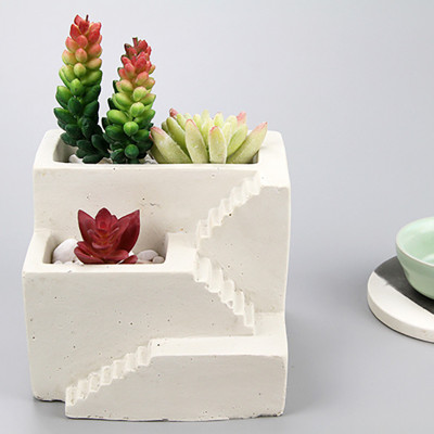 BK2018 small house staircase cement flowerpot silicone mold Nordic step flower vase molding mold