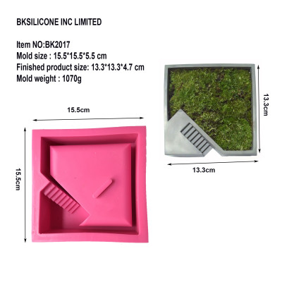 BK2017 clear water concrete square stair silica gel mold flowerpot fleshy flower pot mold