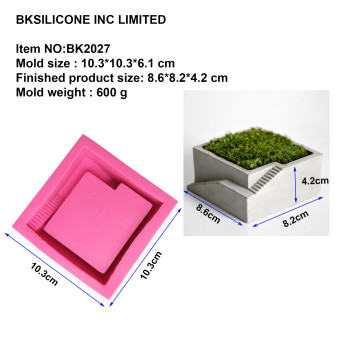 BK2027 square staircase concrete cement silica gel mould desktop decorative decoration step meat floral pot mold
